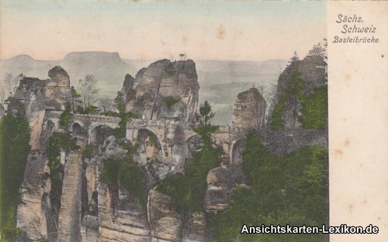 Ansichtskarte Wehlen Basteibrücke, coloriert b Königstei