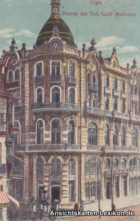 Ansichtskarte Vigo Puerta del Sol, Cafe Moderno 1918
