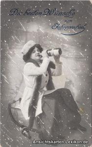 Die besten Wünsche zum Jahreswechsel (Frau im Schneestur