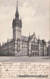 Ansichtskarte Braunschweig Partie am Neuen Rathaus g1911