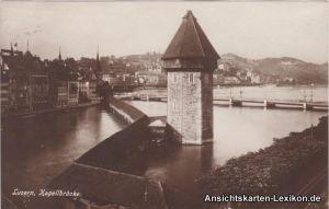 Foto Ansichtskarte Luzern Partie an der Kapellbrücke c19