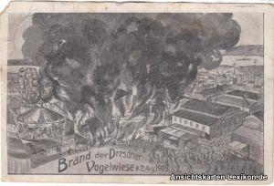 Dresden-Johannstadt Künstler AK: Brand der Vogelwiese 19
