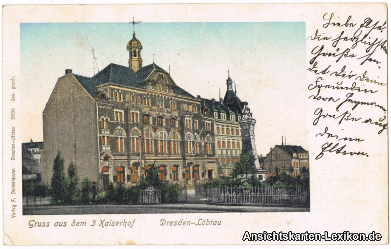 Dresden-Löbtau Drei Kaiserhof (Goldfenster AK)