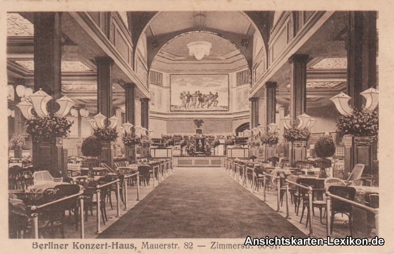Ansichtskarte Berlin Mitte Konzert-Haus - Innen (Mauerstraße 82) 1919