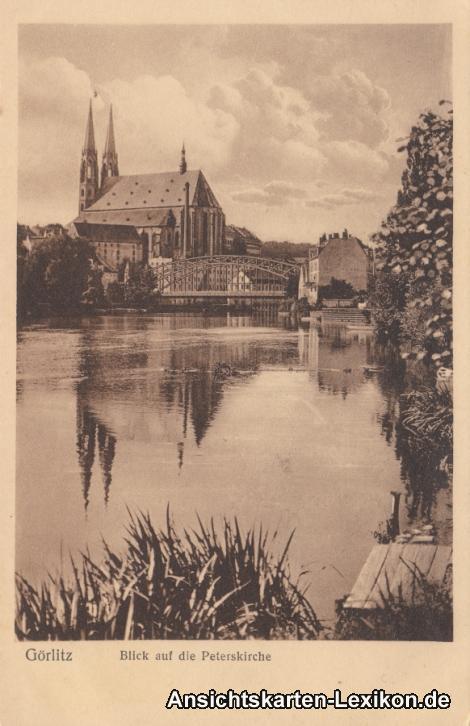 Görlitz Neißepartie mit Brücke und Peterskirche