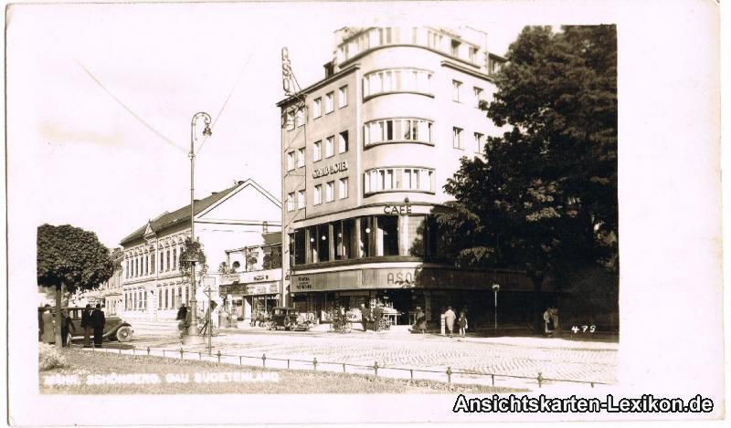 Mährisch Schönberg Straßenpartie mit Grand Hotel