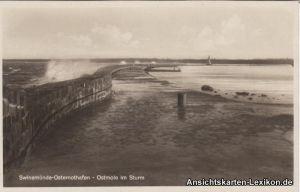 Osternothafen (Ostswine)-Swinemünde Warszów Świnoujście Ostmole bei Sturm 1930