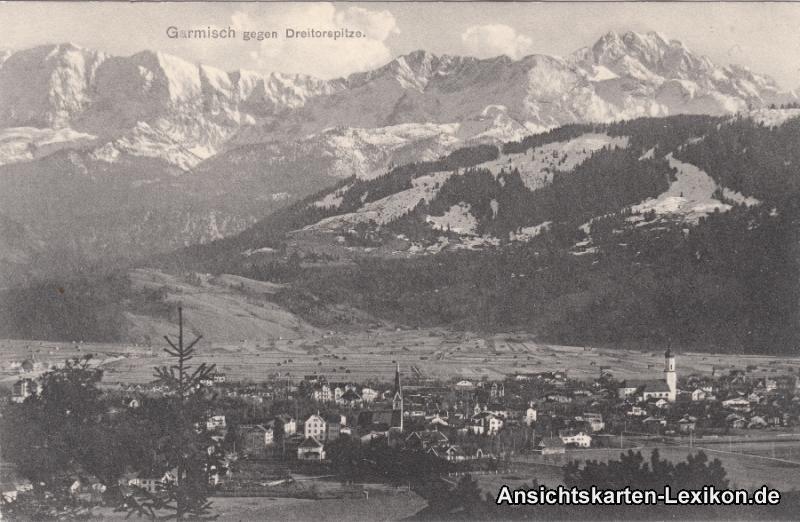 Ansichtskarte Garmisch-Partenkirchen gegen Dreitorspitze