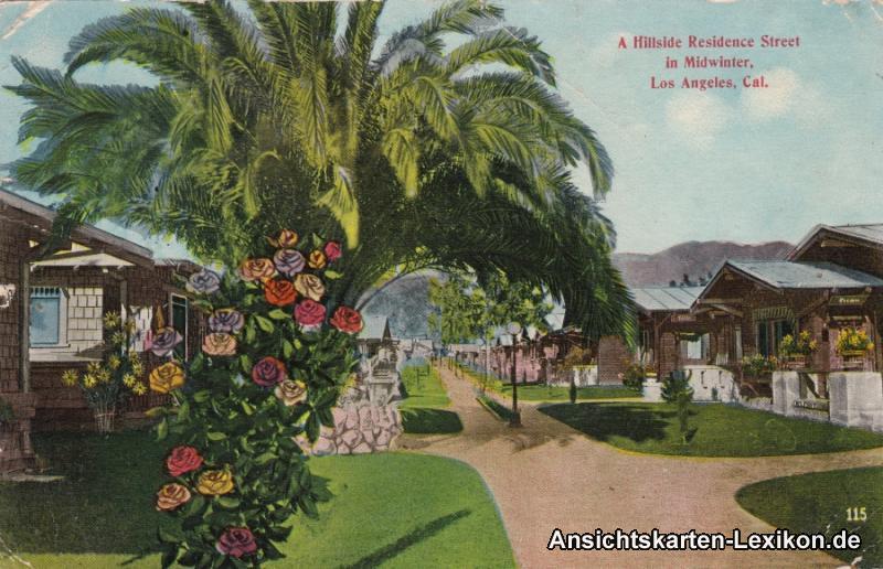 Postcard Ansichtskarte Los Angeles A Hillside Residence