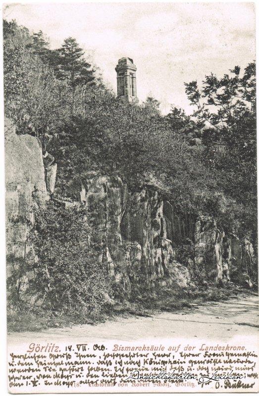 Görlitz Partie auf der Landeskrone mit Bismarckdenkmal