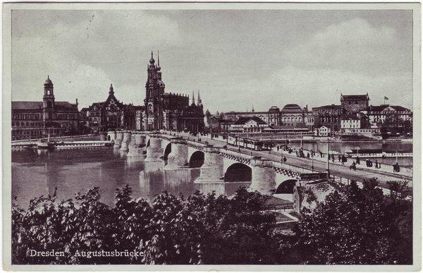 Dresden Innere Altstadt Augustusbrücke Ansichtskarte c19