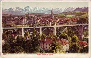 Bern Totale mit Brücke  und die Alpen Ansichtskarte 1907