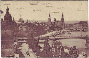 Dresden Altstadt Terrassenufer Ansichtskarte c1920