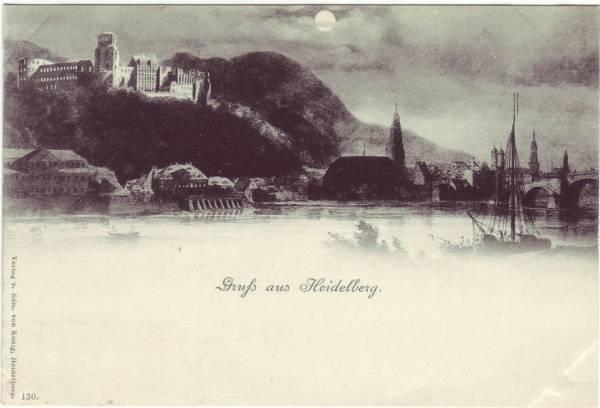 Heidelberg Gruß aus... bei Mondschein Ansichtskarte 1899
