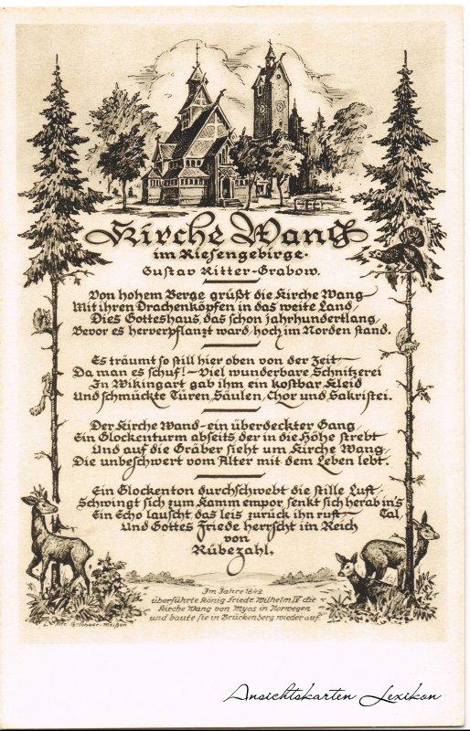 Krummhübel Gedichtskarte - Kirche Wang Karpacz b Hirschberg Schlesien c1932