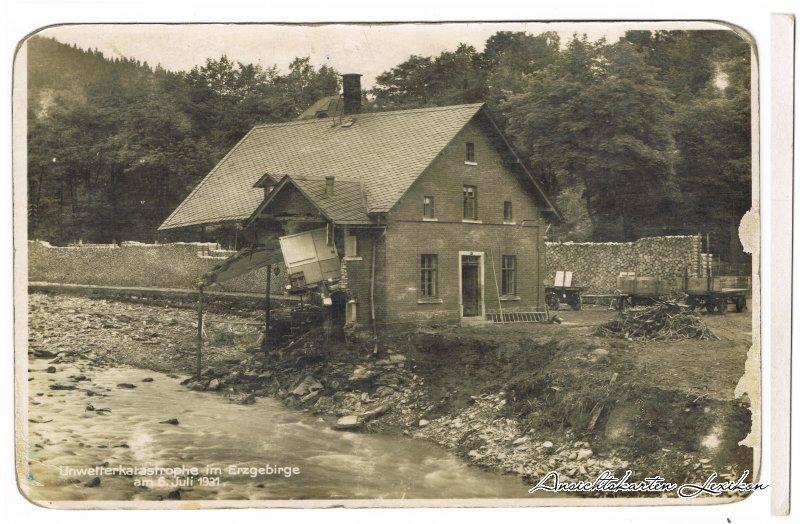 Schwarzenberg (Erzgebirge) Hochwasser, Zertörungen im Antonstal 6. Juli 1931