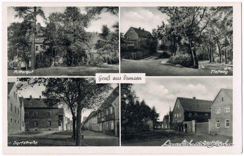 Großgrimma-Domsen 4 Bild:Rittergut, Tiefweg, Dorfstraße und Dorflage