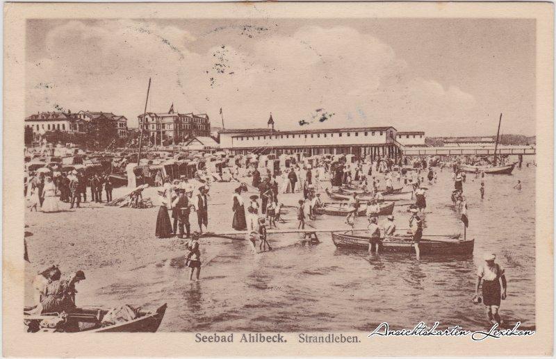 Ahlbeck (Usedom) Strandleben mit Hotels und Seebrücke