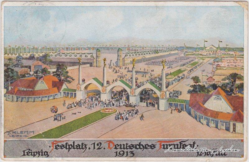 Leipzig Festplatz - Turnfest Ansichtskarte  1913