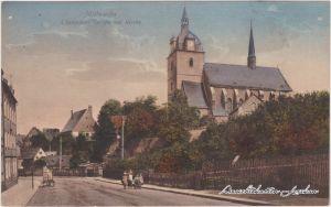 Mittweida Chemnitzer Straße mit Kirche