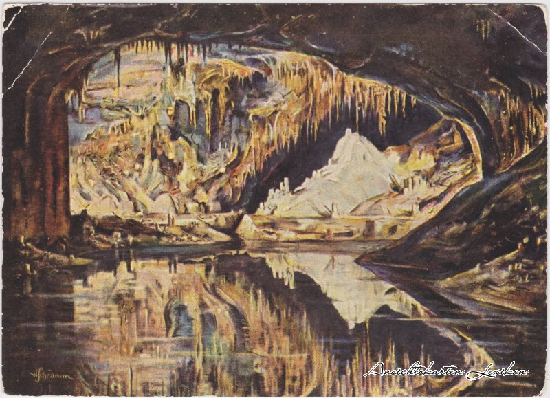 Saalfeld (Saale) Die Gralsburg Märchendom - Feendgrotten Künstlerkarte 1958