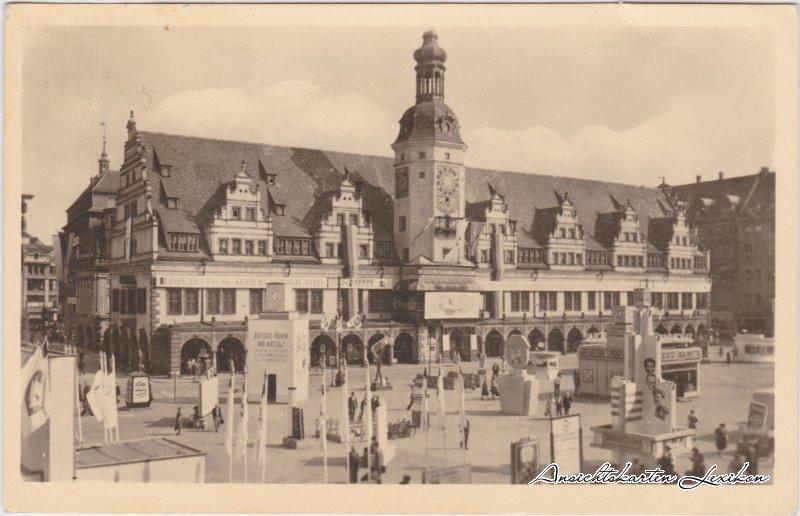 Leipzig Altes Rathaus, Messe Foto Ansichtskarte 1955