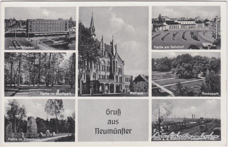 Neumünster Mehrbild: Bahnhof, Parkanlagen