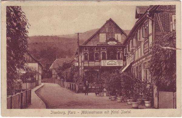 Ilsenburg (Harz) Mühlenstrasse mit Hotel Ilsetal