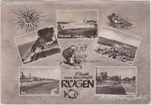 Göhren (Rügen) Mehrbildkarte Rügen und Fährschiff Saßnitz