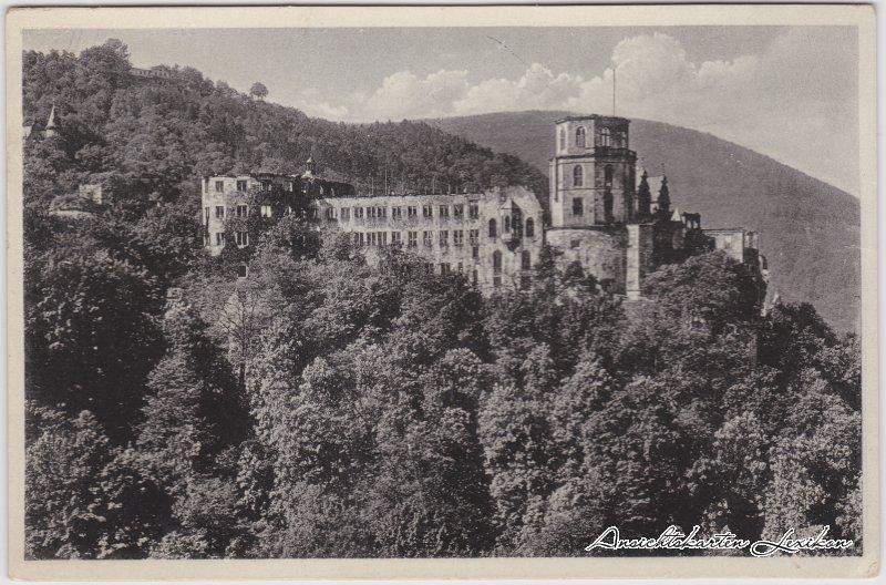 Heidelberg Das Schloss von der Terrasse gesehen