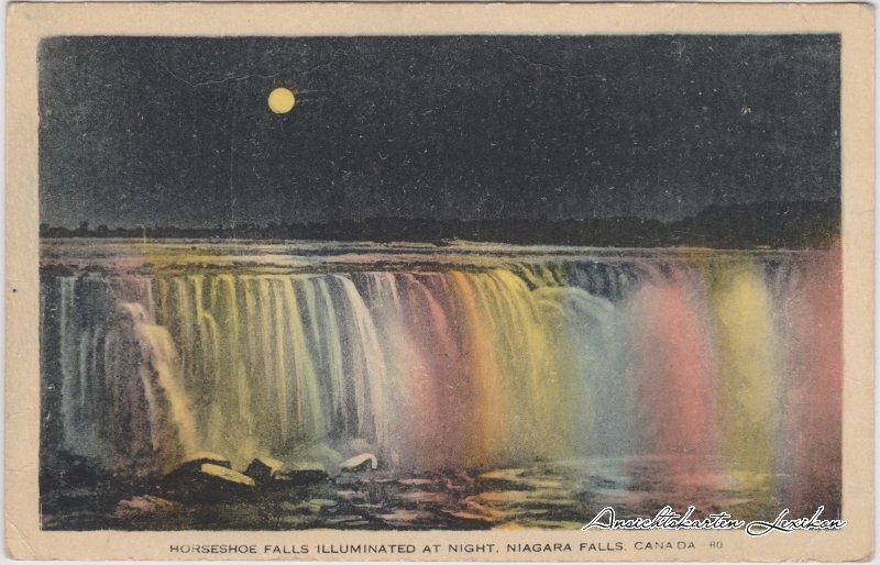 Niagara Falls (Ontario) Horseshoe Falls Illuminated at Night - Niagara Falls