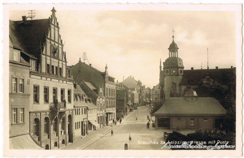Glauchau Leipzigerstrasse mit Post und Reichsbank