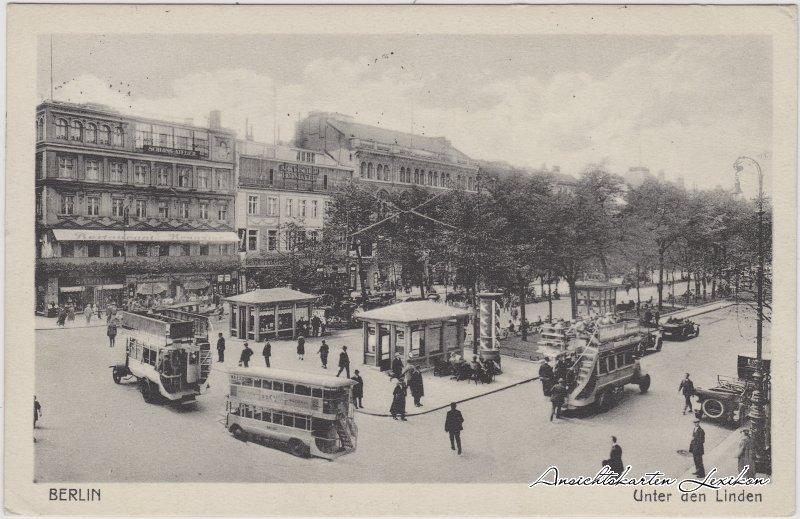 Mitte-Berlin Unter den Linden, Geschäfte, Doppelstockbusse und Kioske