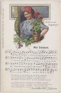 Mei Schatzel Liedkarte Vogel Schwarzenberg Erzgebirge 1909