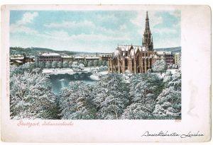 Stuttgart Straßenpartie und Johanniskirche im Winter