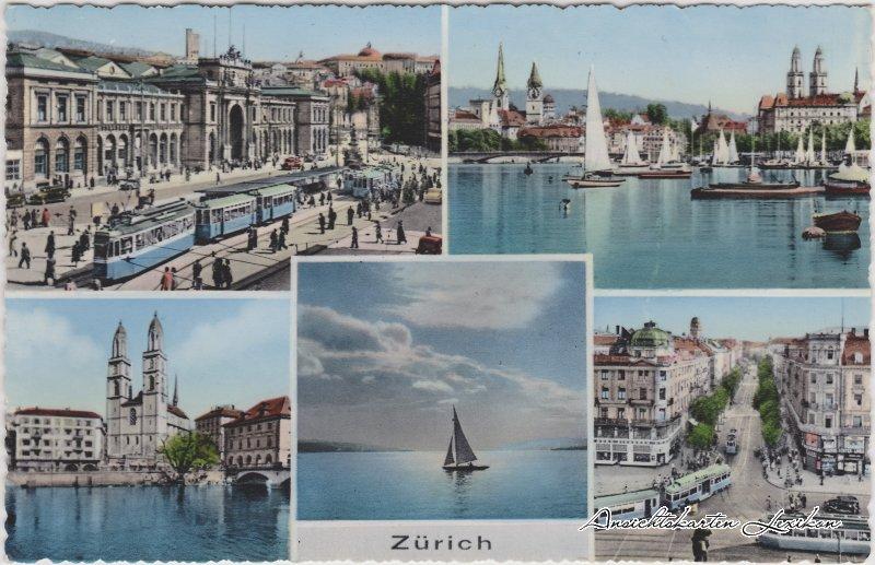 Zürich 5 Bild: Züricher See, Panorama und Straßen Mehrbild Ansichtskarte 1964