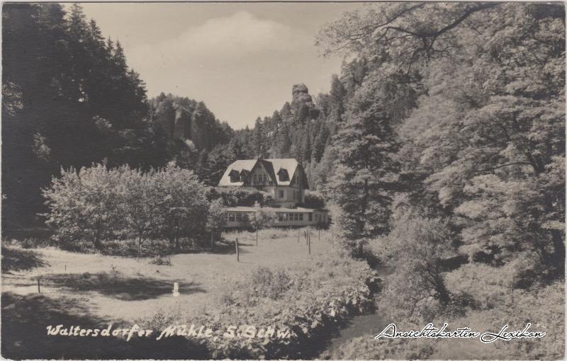 Polenz Neustadt  (Sachsen) Blick auf die Waltersdorfer Mühle Ansichtskarte 1957