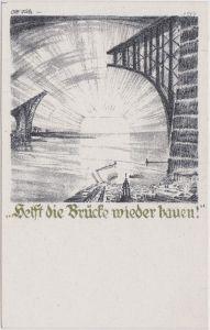 Ansichtskarte  Rückwanderer Hilfe - 1923 - Helft die Brücke bauen