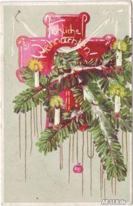 Fröhliche Weihnachten - Präge-Ansichtskarte Tannenzapfen