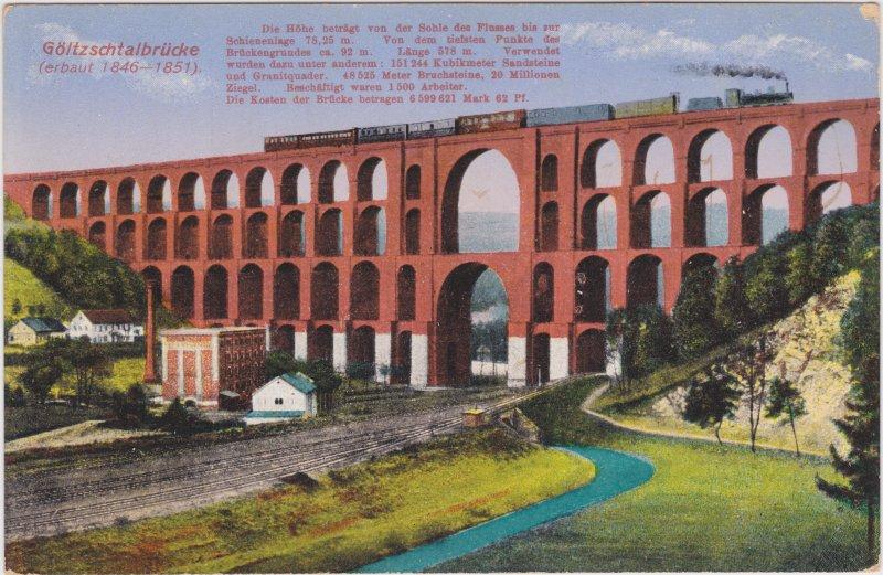 Mylau Göltzschtalbrücke - Eisenbahn und Fabrik