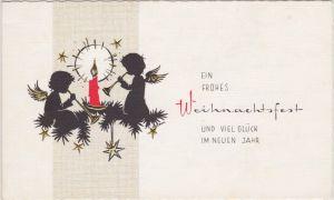 Frohes Weihnachtsfest - Engel und Kerze - Schattenschnitt 1966