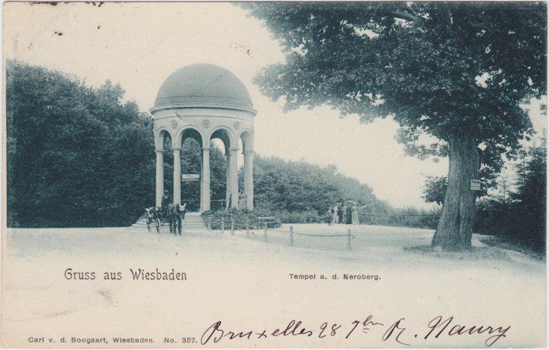 Wiesbaden Pferdefuhrwerk, Tempel auf dem Neroberg
