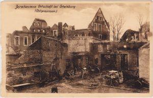 Ortelsburg (Ostpreußen) zerschossene Ortschaft