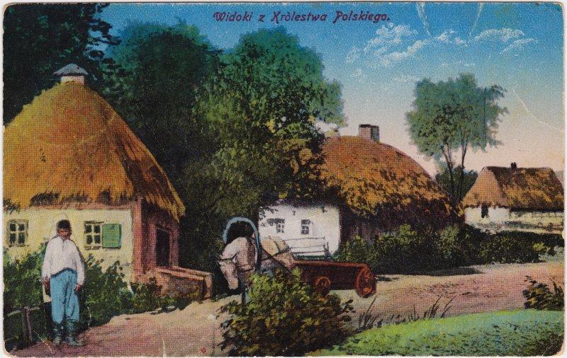 Polen (Allgemein) Dorfpartie mit Bauern