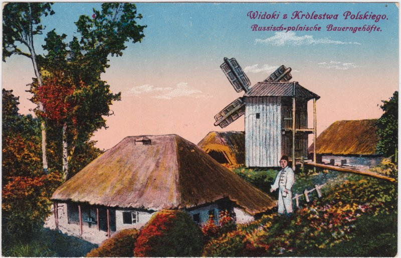 Polen (Allgemein) Bauerngehöft mit Windmühle