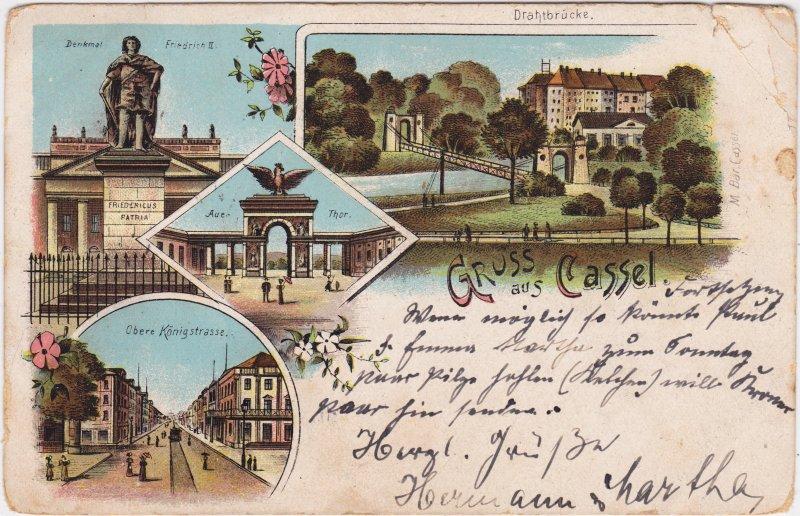 Kassel Cassel Mehrbild: Drahtbrücke, Obere Königsstraße, Auethor, Denkmal Friedrich