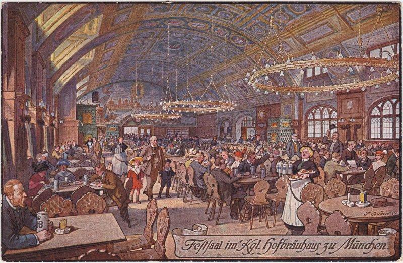München Illustration Innenansicht Festsaal Hofbräuhaus 1922