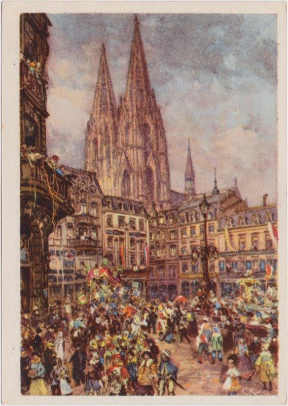 Köln Kölner Karneval - Dom Drucksache Ansichtskarte 1939