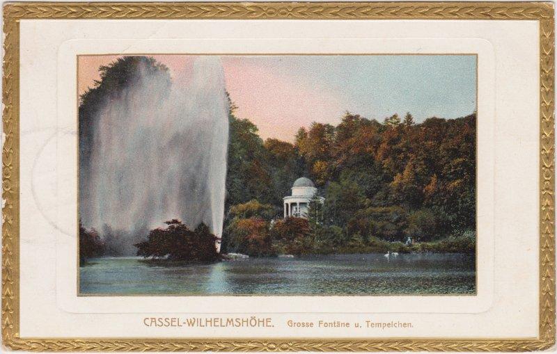 Bad Wilhelmshöhe-Kassel Große Fontaine Tempelchen (Parcepartout - Goldrand)