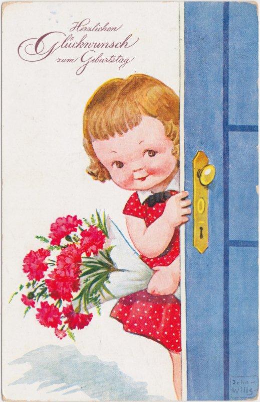 Geburtstagswünsche Illustr Mädchen Mit Blumen 1937 Nr 37463